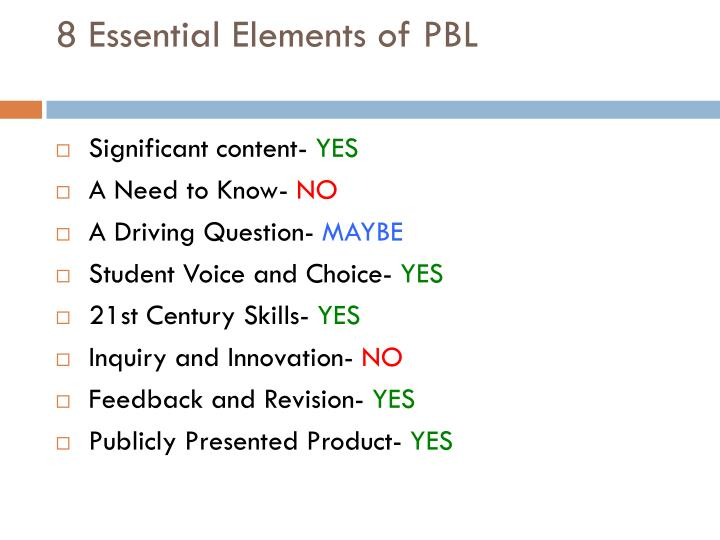 8 Essential Elements of PBL