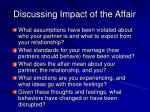 discussing impact of the affair