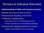 domains of individual interviews