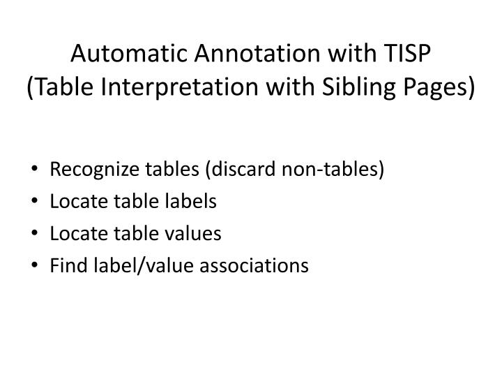 Automatic Annotation with TISP