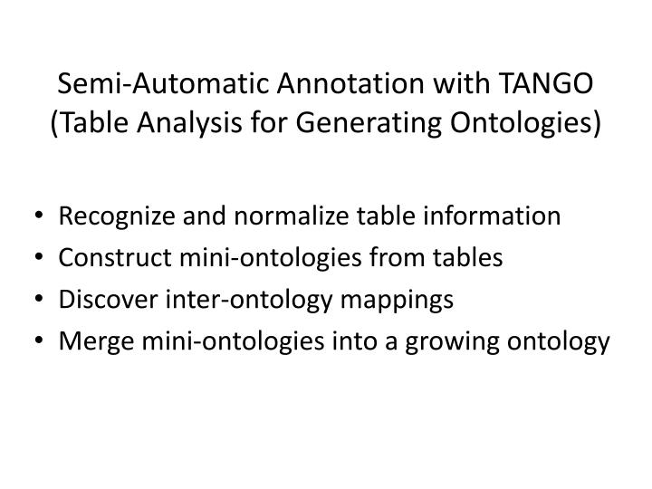 Semi-Automatic Annotation with TANGO (Table