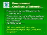 procurement conflicts of interest1