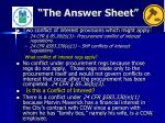 the answer sheet