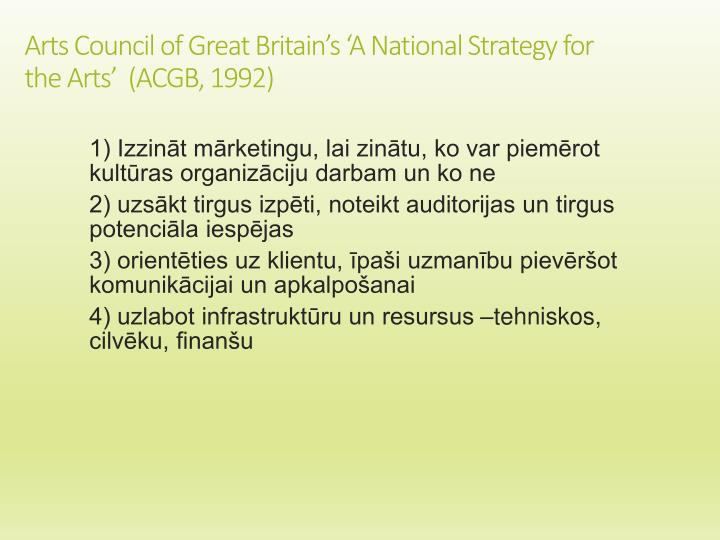 Arts Council of Great Britain's 'A