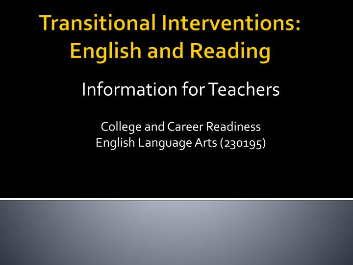 Information for teachers college and career readiness english language arts 230195