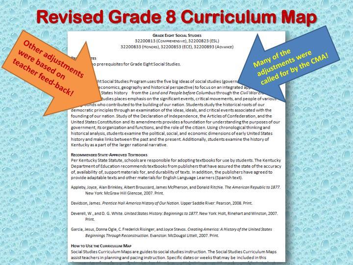Revised Grade 8 Curriculum Map