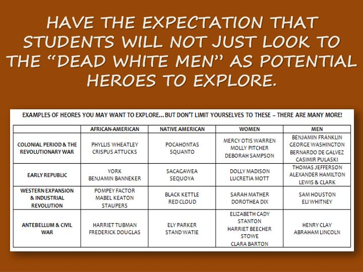 """HAVE THE EXPECTATION THAT STUDENTS WILL NOT JUST LOOK TO THE """"DEAD WHITE MEN"""" AS POTENTIAL HEROES TO EXPLORE."""