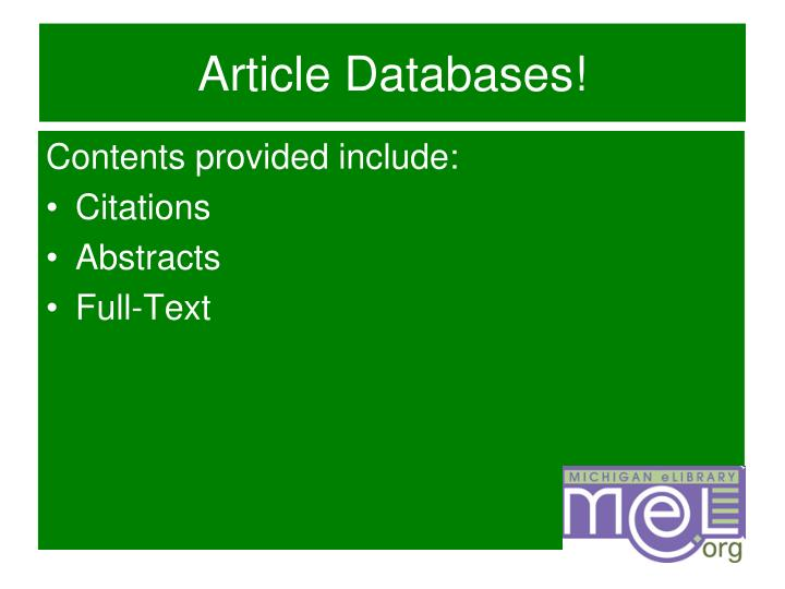 Article Databases!