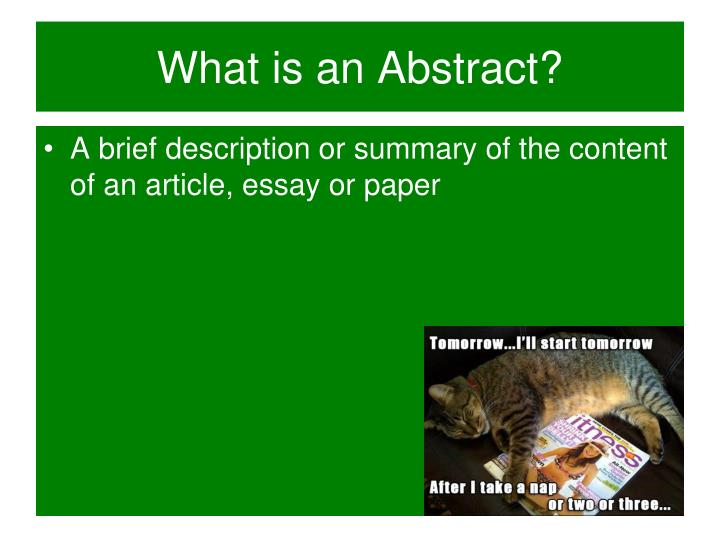 What is an Abstract?