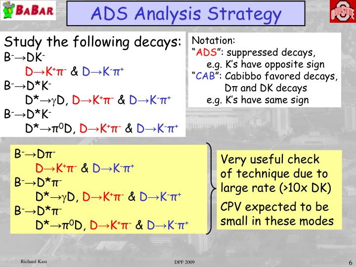 ADS Analysis Strategy