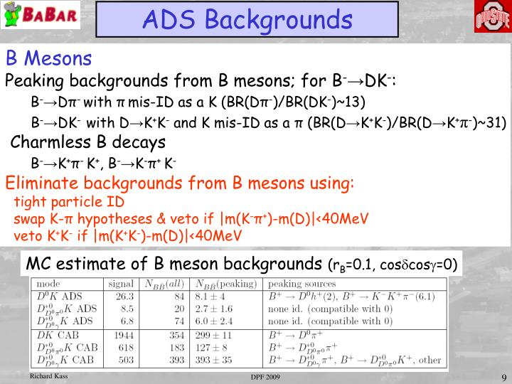 MC estimate of B meson backgrounds