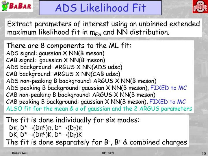 ADS Likelihood Fit