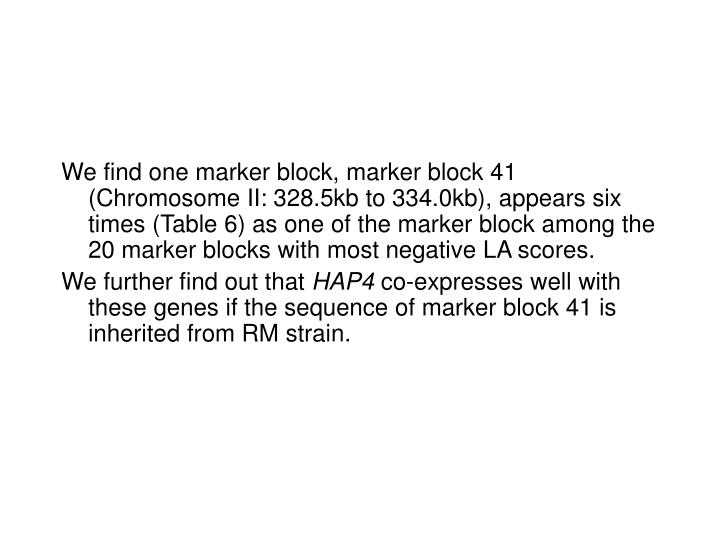 We find one marker block, marker block 41 (Chromosome II: 328.5kb to 334.0kb), appears six times (Table 6) as one of the marker block among the 20 marker blocks with most negative LA scores.