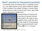 book s notation for kinematical quantities
