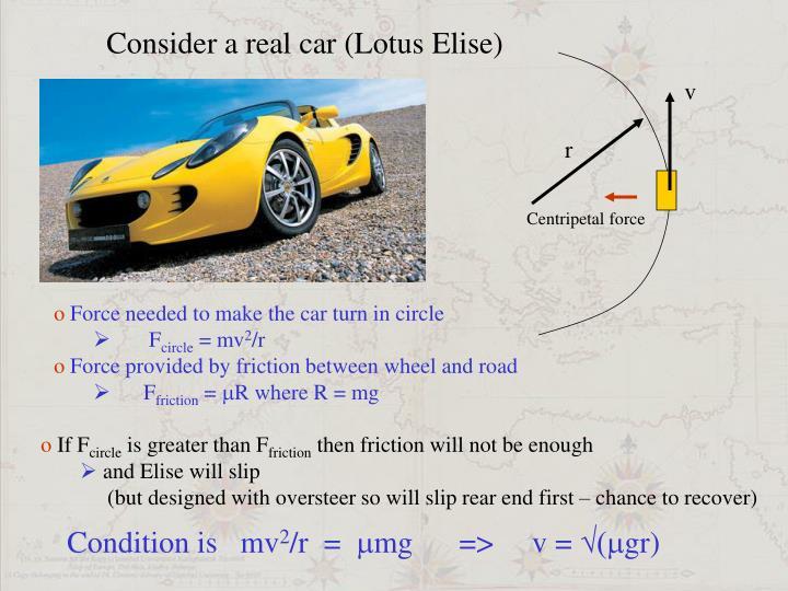 Consider a real car (Lotus Elise)