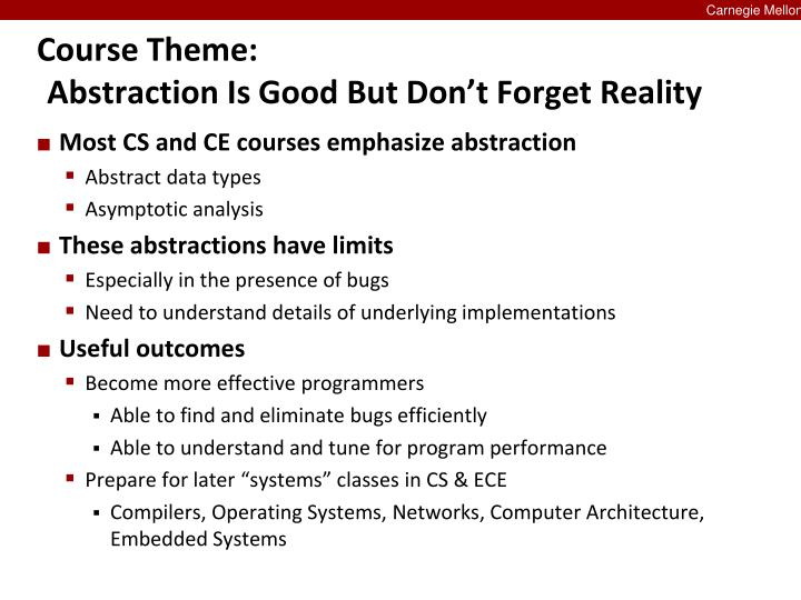 Course theme abstraction is good but don t forget reality