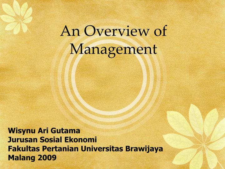 An overview of management
