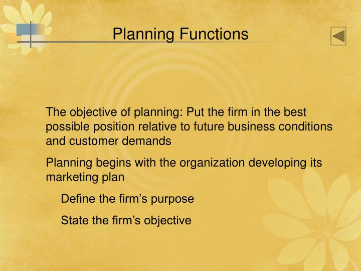 Planning Functions