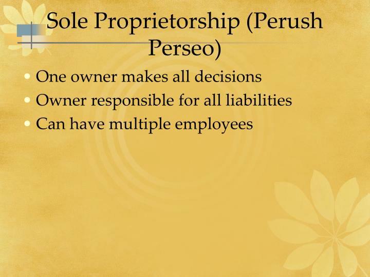 Sole Proprietorship (Perush Perseo)