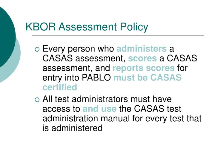 KBOR Assessment Policy