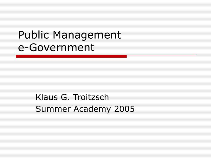 public management e government