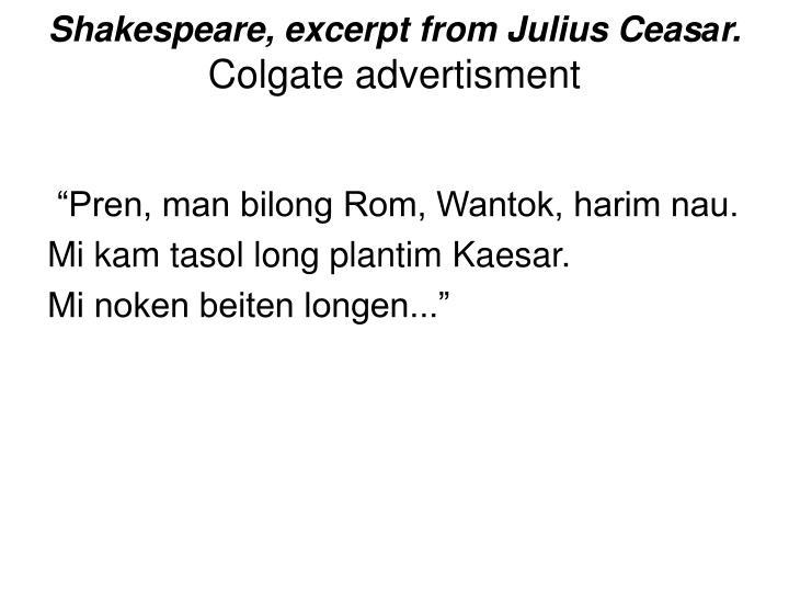 Shakespeare, excerpt from Julius Ceas