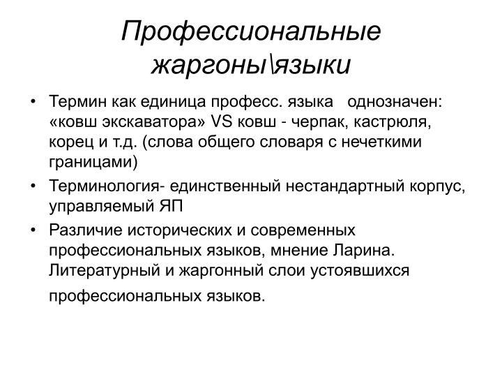 Профессиональные жаргоны\языки