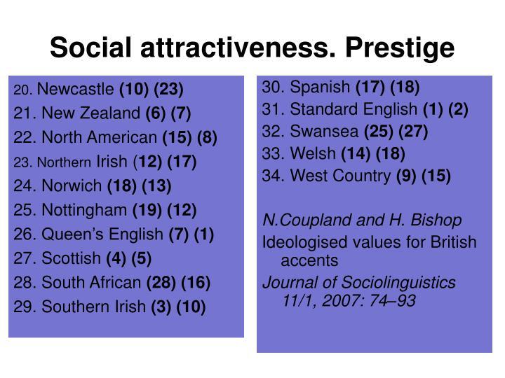 Social attractiveness. Prestige