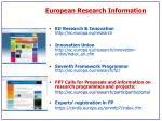 european research information
