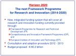 horizon 2020 the next framework programme for research and innovation 2014 2020