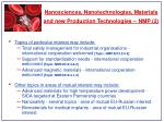 nanosciences nanotechnologies materials and new production technologies nmp 2