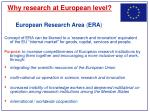 why research at european level1