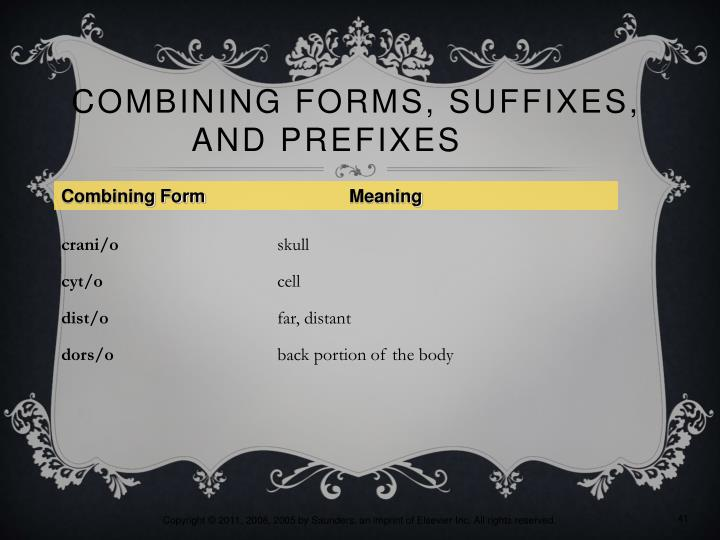 Combining Forms, Suffixes,