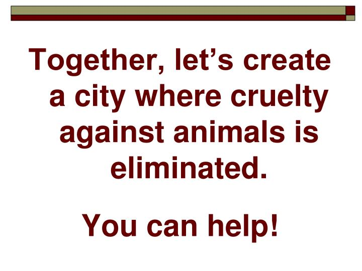 Together, let's create a city where cruelty against animals is eliminated.