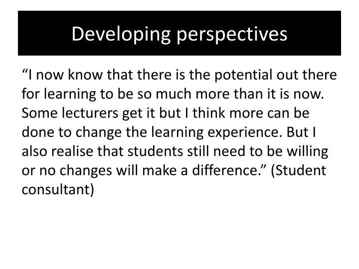 Developing perspectives