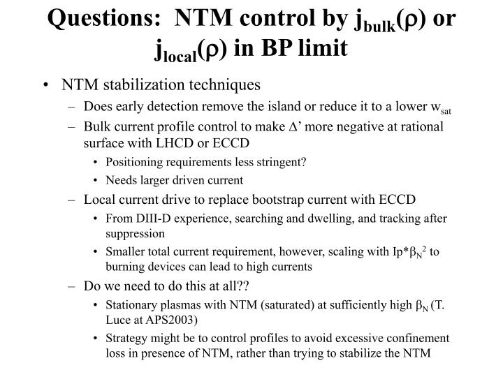 Questions:  NTM control by j