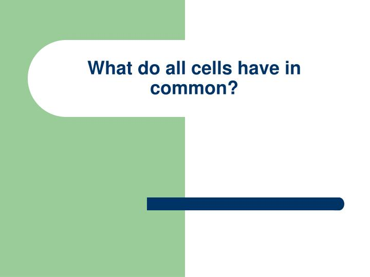 What do all cells have in common?