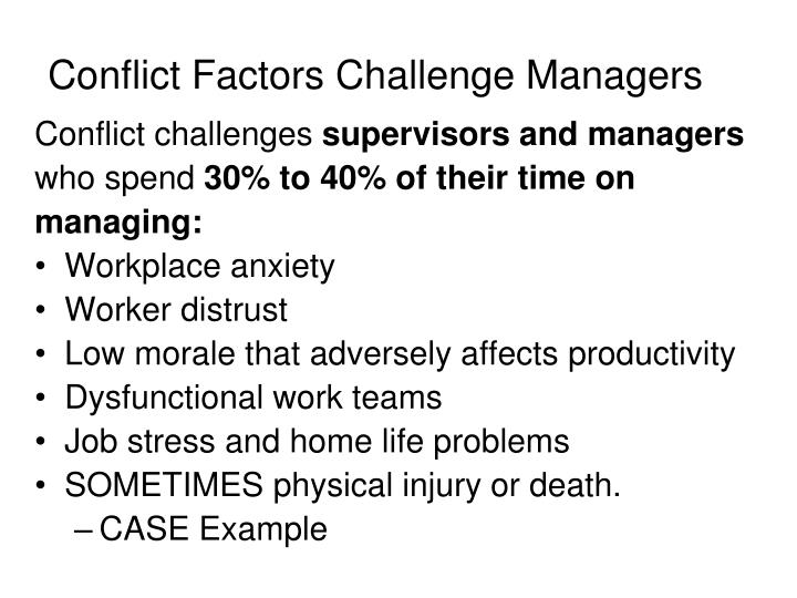 Conflict Factors Challenge Managers