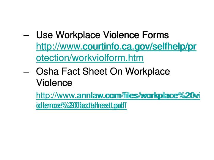 Use Workplace Violence Forms