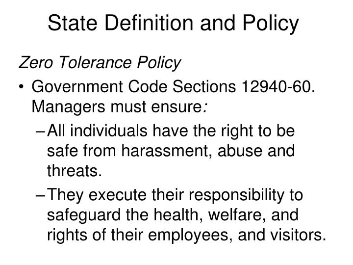 State Definition and Policy