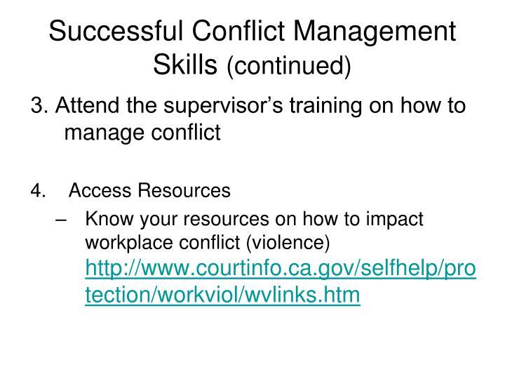 Successful Conflict Management Skills
