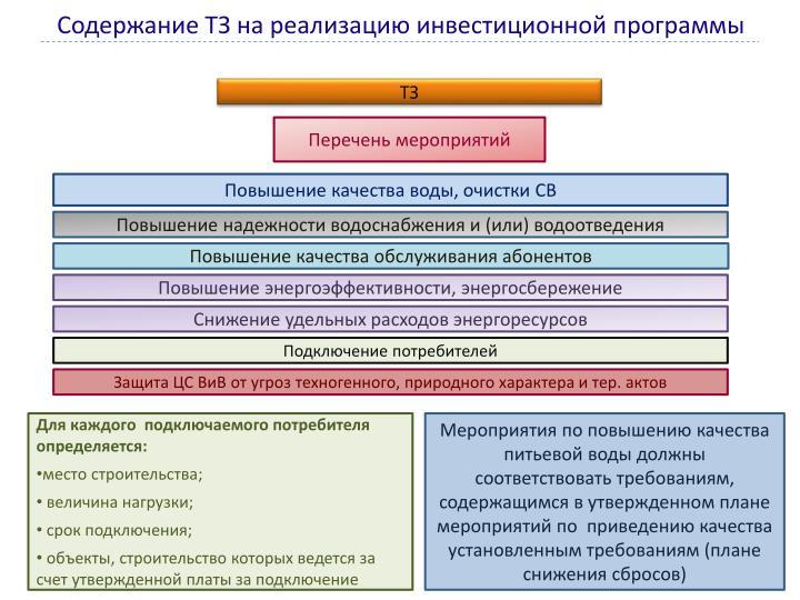 Содержание ТЗ на реализацию инвестиционной программы