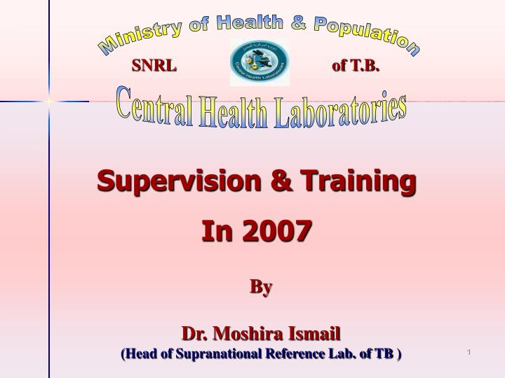 by dr moshira ismail head of supranational reference lab of tb n.