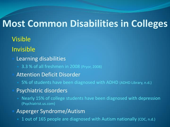 Most Common Disabilities in Colleges