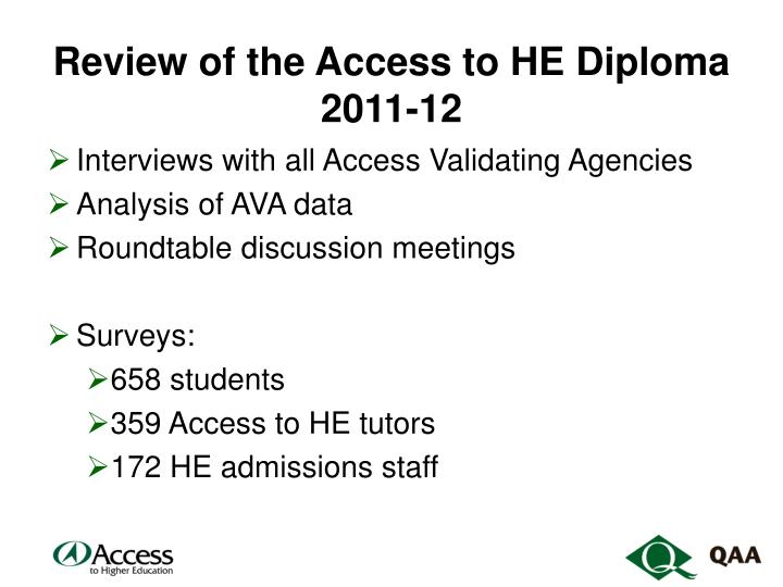 Review of the Access to HE Diploma 2011-12