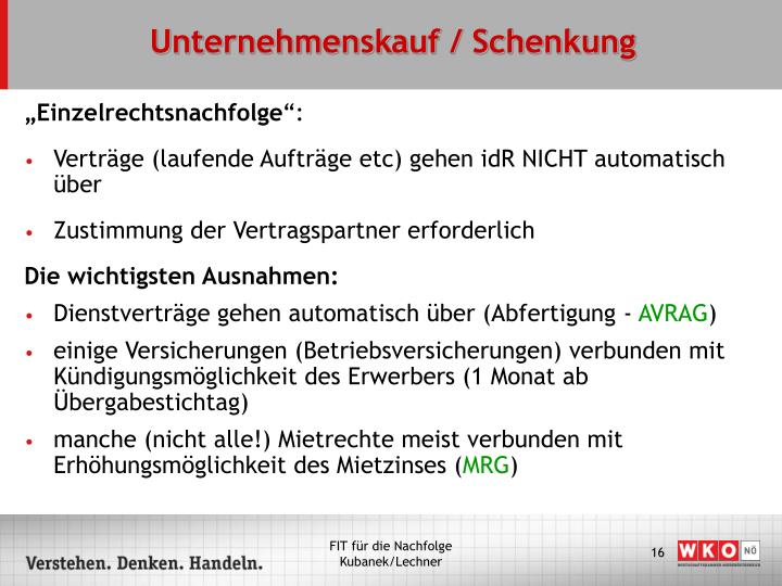 Unternehmenskauf / Schenkung