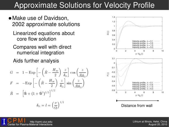 Approximate Solutions for Velocity Profile