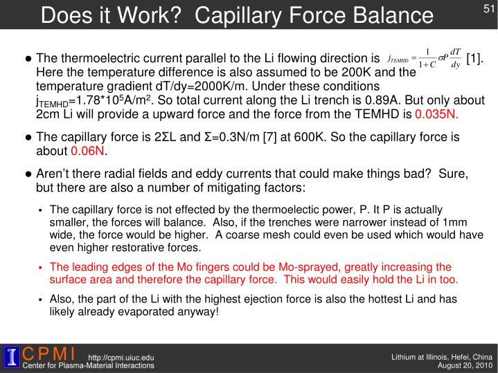 Does it Work?  Capillary Force Balance