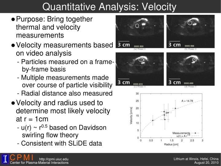 Quantitative Analysis: Velocity