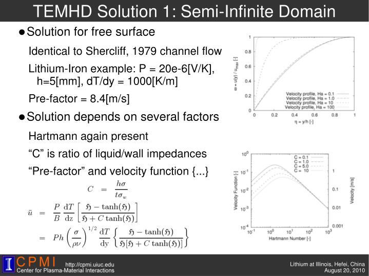 TEMHD Solution 1: Semi-Infinite Domain